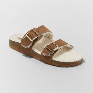 Womens Sherpa Footbed Cognac Slide Sandals NWT